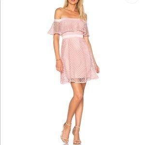 Bardot Off Shoulder Lace Dress in Petal
